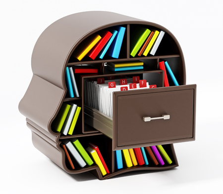 Index card catalogue inside head library drawer. 3D illustration. Stock Photo