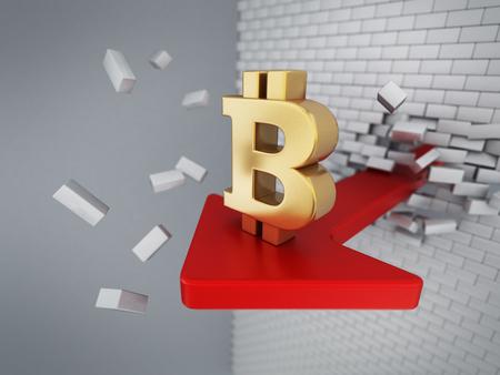 Bitcoin symbol on the arrow destroying the wall. 3D illustration.