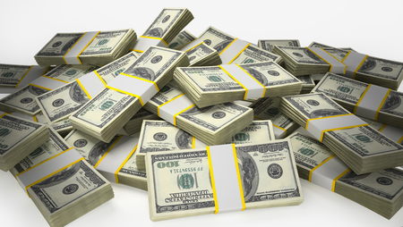 Stack of 100 dollar bills isolated on white background. 3D illustration. Stock Photo