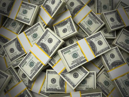 Stack of 100 dollar bills background. 3D illustration. Stock Photo