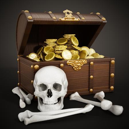 Chest full of gold, skull and bones. 3D illustration. Stock Photo