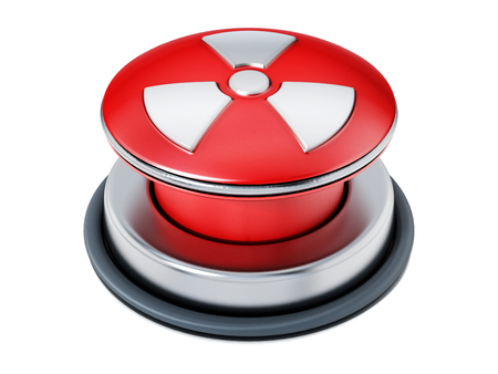 Nuclear launch button isolated on white background. 3D illustration.