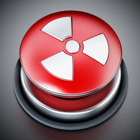 Nuclear launch button on gray background. 3D illustration.