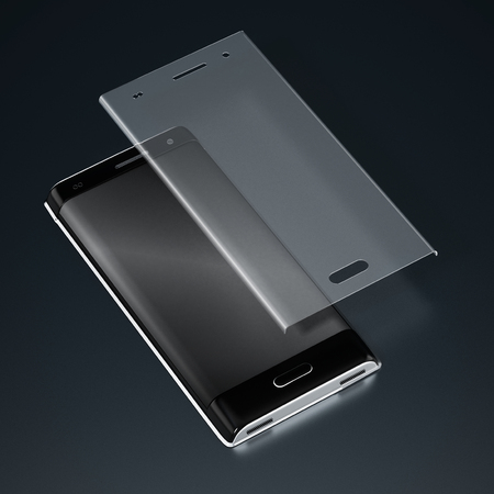 Smartphone and tempered glass screen protector. 3D illustration.