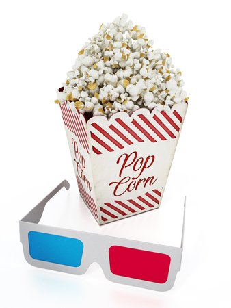 Popcorn and 3D anaglyph glasses isolated on white background. 3D illustration.