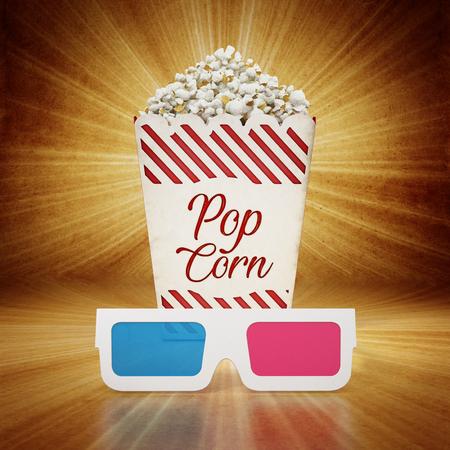 Vintage popcorn and 3D anaglyph glasses on grungy background. 3D illustration.