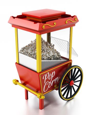 Vintage popcorn cart isolated on white background. 3D illustration.