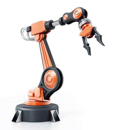 Robotic arm isolated on white background. 3D illustration.