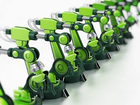 Robotic arms standing in a line inside a factory. 3D illustration. Stock Photo