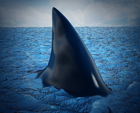 Shark fin on the water. 3D illustration.