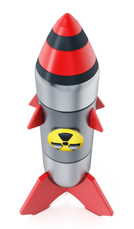 Nuclear missile isolated on white background. 3D illustration.