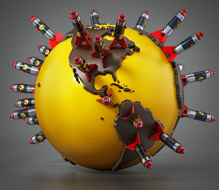 Nuclear missiles standing on world map. 3D illustration. Stock Photo