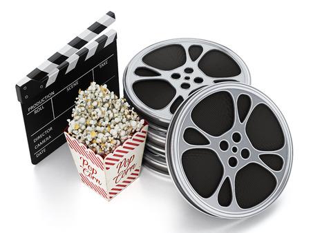 Vintage popcorn, clapboard and film slate isolated on white background. 3D illustration.