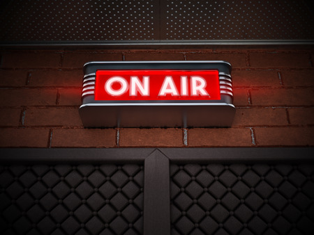 On air sign above the door of a broadcast room. 3D illustration.