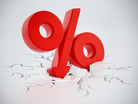 Percentage symbol with arrow on cracked ground. 3D illustration. Stock fotó