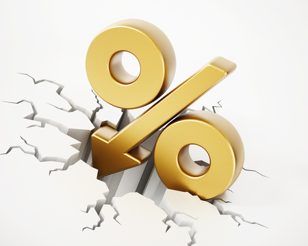 Percentage symbol with arrow on cracked ground. 3D illustration.