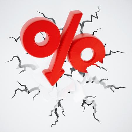 Percentage symbol with arrow on cracked ground. 3D illustration. Stock Photo