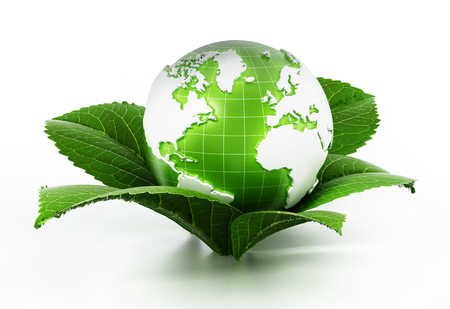 Green globe protected by fresh leaves. 3D illustration.