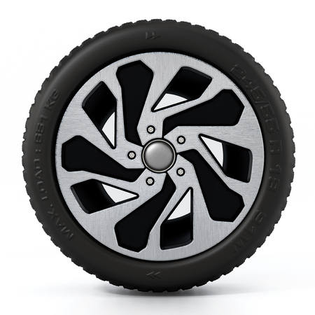 Low profile sport tyre and rim isolated on white background. 3D illustration.