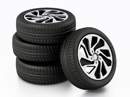 Low profile sport tyre and rims isolated on white background. 3D illustration. Stock Photo