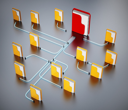 Folders connected to each other in a network. 3D illustration. Stock Photo