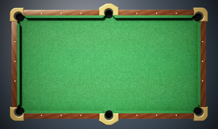 Pool table with green cloth. Top view. 3D illustration. Standard-Bild