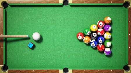 Billiard balls, triangle, chalk and cue on pool table. 3D illustration.
