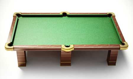 Pool table with green cloth on white background. 3D illustration.