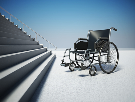 Empty wheelchair standing in front of steep staircase. 3D illustration.