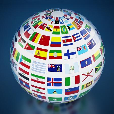 Flagi krajów na całym świecie na niebieskim tle. Ilustracja 3D.