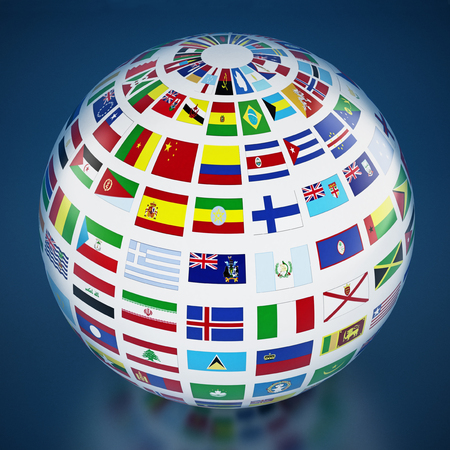 Country flags around the globe on blue background. 3D illustration.
