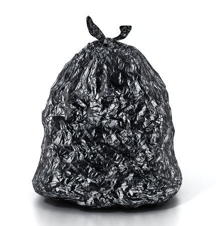 Trash bag isolated on white background. 3D illustration.