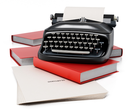 Typewriter, books and paper sheet with scenario text isolated on white background. 3D illustration. Imagens