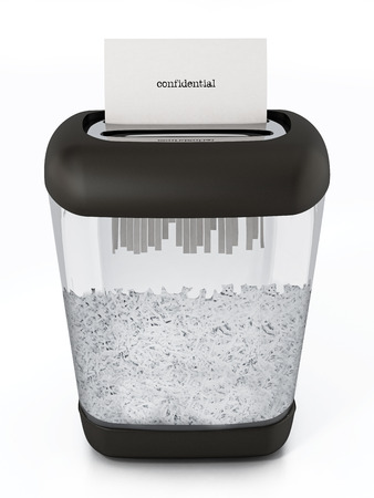 Paper shredder full of shredded paper. 3D illustration.