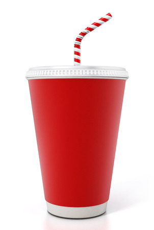 Paper soda cup isolated on white background. 3D illustration. Foto de archivo