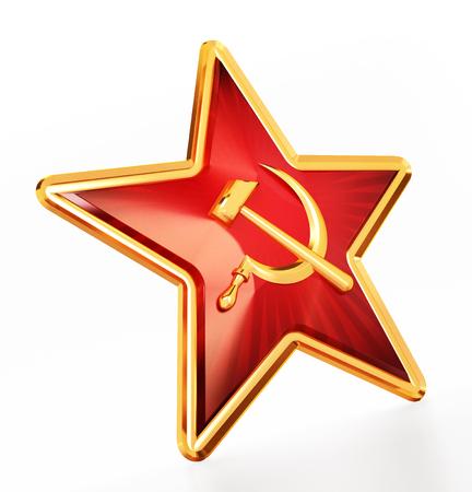 Communist symbols hammer and sickle on red star. 3D illustration.