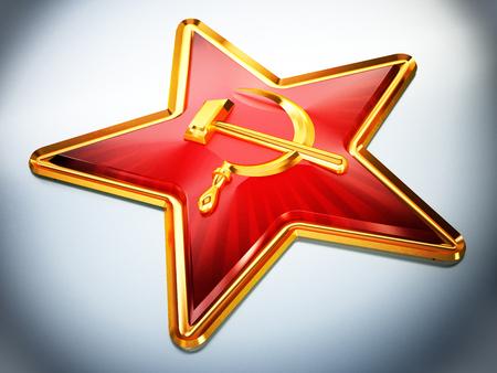 Communist symbols hammer and sickle on red star. 3D illustration. Stock Illustration - 103510086