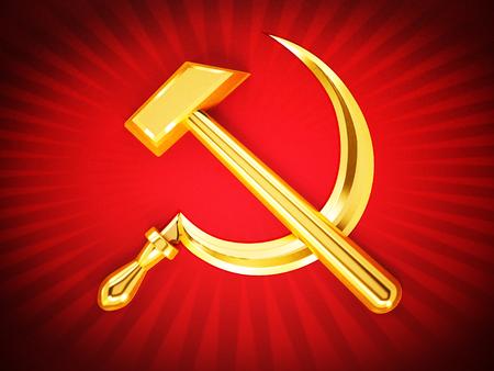 Communist symbols hammer and sickle on red. 3D illustration.