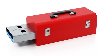 Red toolbox with usb 3.0 plug isolated on white background. 3D illustration Фото со стока