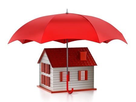 Red umbrella protecting house model. 3D illustration.
