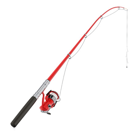 Fishing rod isolated on white background. 3D illustration. Archivio Fotografico