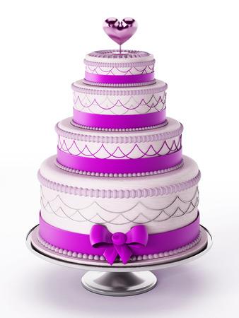 Wedding cake isolated on white background. 3D illustration.