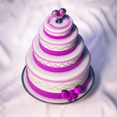 Wedding cake standing on the table. 3D illustration.