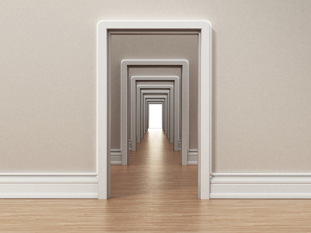 Hallway with many doors opening to each other. 3D illustration. Stock Photo