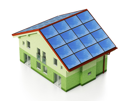 Solar panels installed on house roof. 3D illustration. Stock Illustration - 118974976