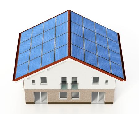 Solar panels installed on house roof. 3D illustration. Stock Photo