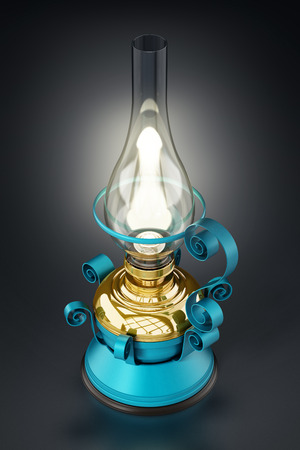 Vintage oil lamp glowing at the dark. 3D illustration.