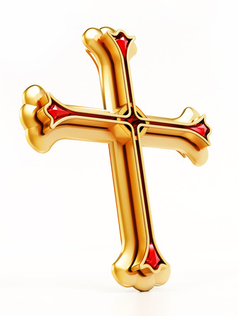 Gold cross isolated on white background. 3D illustration.