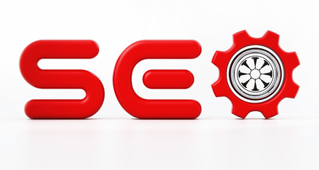 SEO word with a gear inside letter o. 3D illustration.