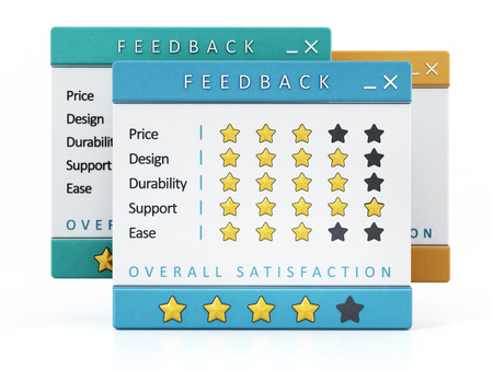 Customer satisfaction surveys isolated on white background. 3D illustration. Stockfoto
